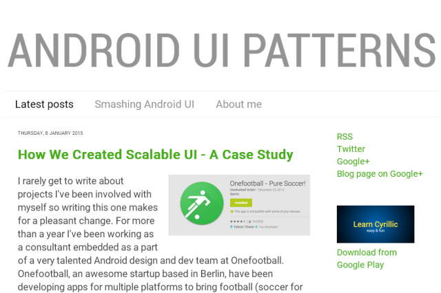 「Android UI Patterns」のサイト